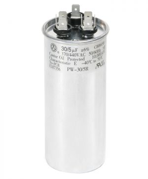 30+5 uf Dual Run Round Capacitor 370 or 440 VAC