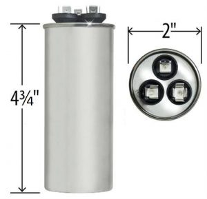 35+5 uf Dual Run Round Capacitor 370 or 440 VAC