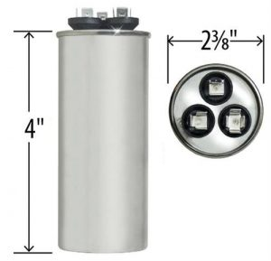 45+5 uf Dual Run Round Capacitor 370 or 440 VAC