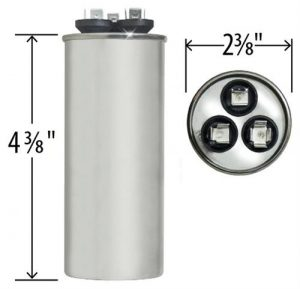 55+5 uf Dual Run Round Capacitor 370 or 440 VAC