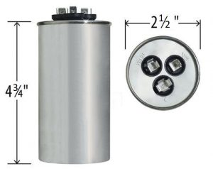 55+7.5 uf Dual Run Round Capacitor 370 or 440 VAC