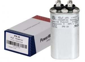 10 uf Oval Run Capacitor 370 or 440 VAC
