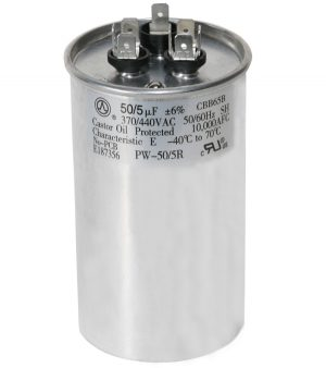 50+5 uf Dual Run Round Capacitor 370 or 440 VAC
