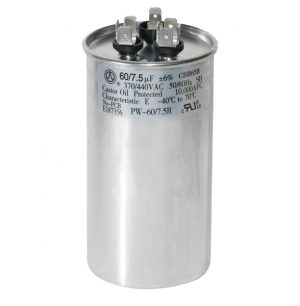 60+7.5 uf Dual Run Round Capacitor 370 or 440 VAC