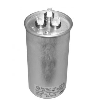 70+7.5 uf Dual Run Round Capacitor 370 or 440 VAC