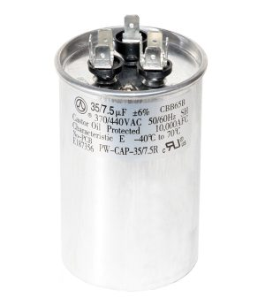 35+7.5 uf Dual Run Round Capacitor 370 or 440 VAC