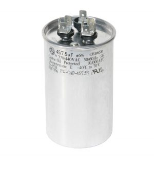 45+7.5 uf Dual Run Round Capacitor 370 or 440 VAC