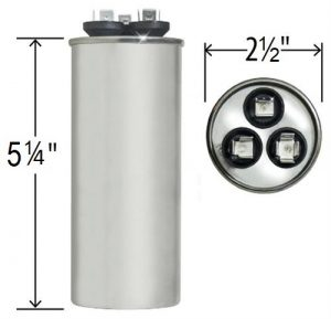 80+5 uf Dual Run Round Capacitor 370 or 440 VAC