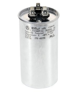 60+5 uf Dual Run Round Capacitor 370 or 440 VAC