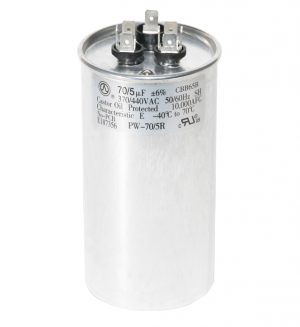 70+5 uf Dual Run Round Capacitor 370 or 440 VAC